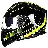 WKNBEU Herren Motorräder Helme Sicherheit Vintage Motorräder Helm Männer Full-Face Racing Helm Erwachsene Wasserdicht Winddicht Allround Radfahren Autocycle Fullface,H-XXL