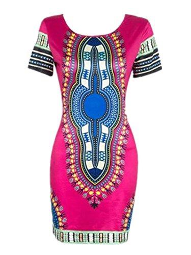 Robe Femme, Koly Femmes Traditionnelle Africaine Sexy Imprimer Dashiki Bodycon Dress Summer Sexy Robe à Manches Courtes (XXL-Buste:37,7 ', Rose vif)