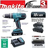 Makita HP457D 18v Li-Ion Cordless Combi Hammer Drill with 2 x Makita BL1813G Batteries and 1 x Makita DC18WA Charger and Canvas Carry Bag , Fulfilled