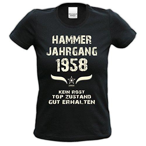 58.Geburtstag-Damen-Mädchen-Happy-Birthday Fun-Girlie-T-Shirt Geschenk mit Sprüche-Motiv: Hammer Jahrgang 1958 Farbe: schwarz Schwarz