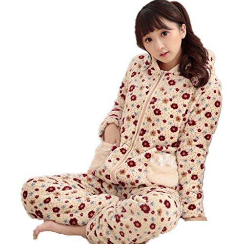 DMMSS Piece Set Hiver Épaisse À Long - - 2 Women 'S Flanelle Pyjamas Pyjama À Capuchon De Service À Domicile Manches Fixées meters white
