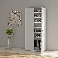 White Wooden Shoe Storage Cupboard Cabinet Rack Hallway Bedroom Furniture with 7 Shelves and 2 Doors, 80 x 40 x176cm