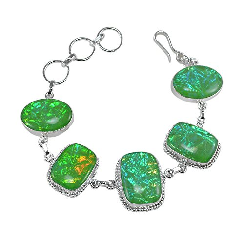 Silvestoo India Dichroic Glass Gemstone Bracelet For Women & Girls PG-122909