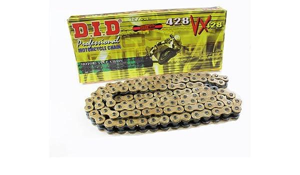 138 Glieder X-Ring gold DID Kette 428 VX offen mit Clipschloss