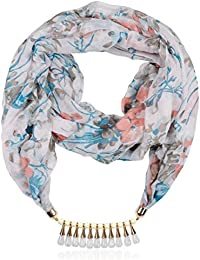Scarf Necklace Off-white Crystal & Viscose Strand Necklace For Women (PS659)