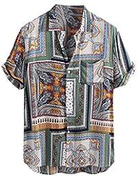 d3ccc5bea8a1ac Hotsell〔☀ㄥ☀〕Men's T-Shirts - Beach Lapel Shirt Summer Man Cool Office  Formal Retro Leopard Printed Blouse Casual Short Sleeve…