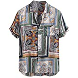 ☀NnuoeN☀ Camicia in cotone vintage da uomo,Top stampato chic,Camicie estive comode da uomo,Top casual quotidiani,Uomini pullover manica corta