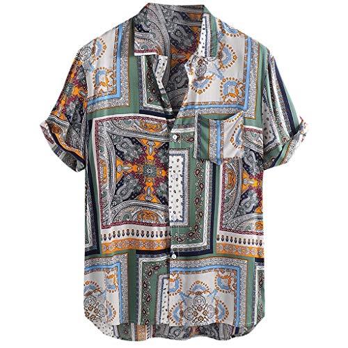 Firally - Camisa de Hombre, Estilo Vintage, étnico, Estampada, de Manga Corta, para Verano, Suave y Transpirable Verde L