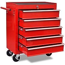 vidaXL Carrito de herramientas rojo de 5 cajones hecho de material de acero
