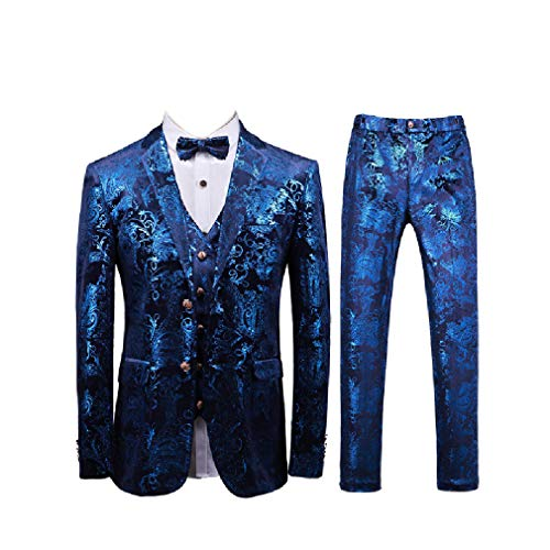 CuteRose Mens Premium Party Suit 3-Piece Blazer Jacket Vest Flat Front Pants Blue 4XL Flat-front Blazer