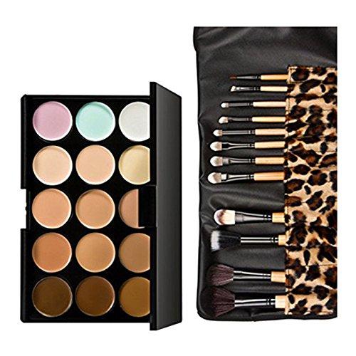 correcteur - TOOGOO(R)15 couleurs correcteur creme de Maquillage + 12 pcs Brosse de Leopard