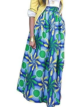 CHDT-Shirt Verano Vacaciones Mujeres Manera Personalidad Oscilación Largo Faldas de Partido Casual Floja Impresión...
