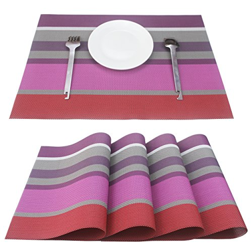 Z.Jian Set von 4Platzsets, Tischsets für Esstisch, hitzebeständig, schmutzabweisend PVC Gewebtes Vinyl Tisch Mats, Küche Essen Mats 12