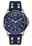 Guess Herren-Armbanduhr Analog Quarz Silikon W0366G4 Blau / Roségold