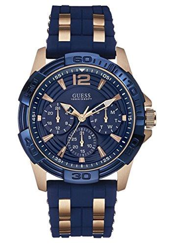 Guess W0366G4 - Reloj de pulsera para hombre, color azul / rosa oro