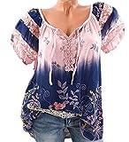 DoubleYI Damen Blumen Spitze Tops Frauen Kurzarm V-Ausschnitt Spitze Gedruckte Lose T-Shirt Bluse Oberteile Tees Shirt (3XL, PK)