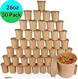 50 contenitori usa e getta in carta kraft e bianca per zuppa gelato, compostabili, biodegradabili, marrone da asporto, con coperchio, in cartone rotondi, resistenti, 26oz Brown