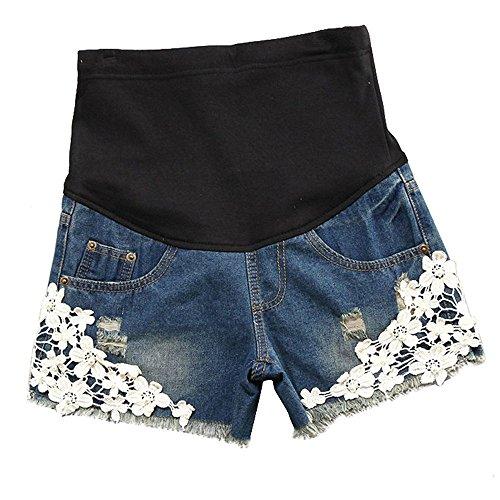 huateng Pantaloncini di jeans da donna incinta pantaloncini di maternità pizzo nuovo stile estivo