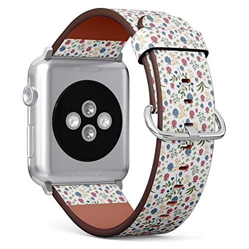 Art-Strap Kompatibel mit für SMALL Apple Watch 38mm & 40mm - Uhrenarmband Ersatzarmbänder Lederarmband mit Edelstahl-Verschluss und Adapter (Beeren Himbeere Brombeere) - Frauen, Himbeere