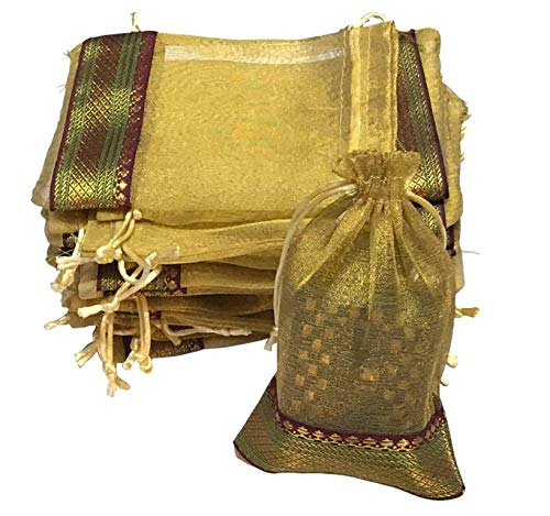 KRIWIN Unisex Silk Gold Colour Tissue Drawstring Closure Potli/Bag (18 X 12 cm) Pack of 50 Pieces