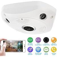 KKmoon 960P HD Cámara IP, VR 360 Grados, Wifi P2P PTZ Full View 1.44mm Lens, Fish Eye, Panorámica Seguridad Interior CCTV, Soporta Control Remoto APP Móvil Android/iOS