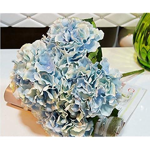 Ppower 5-cabezas ramo de flores hortensia flor artificiales, Decoración de la boda (Azul)