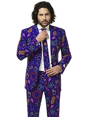 ostüme Herren festlichem Druck Anzug mit Krawatte, Doodle Dude, 50 ()