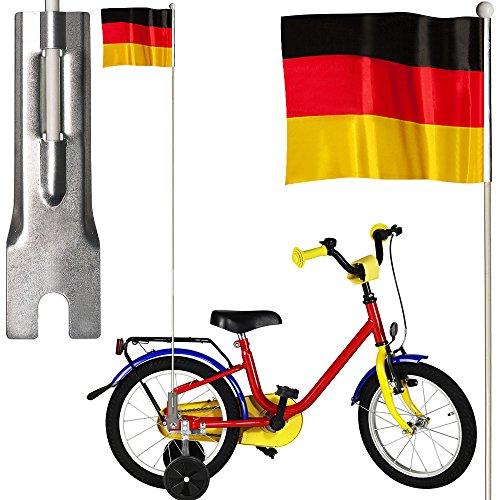 Fahrradfahne ✔ Deutschland Flagge ✔ 24 x 20 cm ✔ Signalfahne und Support ✔ Fußball EM WM Nationalmannschaft Weltmeisterschaft Deko Fahrrad Flagge Fahne