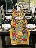 Hare Krishna Esstischläufer aus Baumwolle bestickte Patchwork-Tischdecke (gelb) 30 x 203 cm