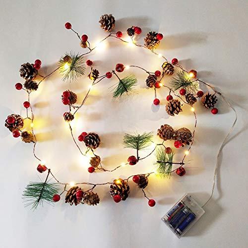 Queta 20 LED-Lichterkette, Rattan-Kranz mit roter Beeren-Tannenzapfen-Leuchte, Batterieantrieb, für Weihnachtshochzeitsschmuck im Familienzimmer - Warmweiß, 1.9 m (ohne Batterie) -