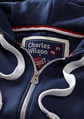 Charles Wilson Herren Regular Fit Kapuzenpulli mit Reißverschluss aus mittelschwerer Baumwollmischung Marine