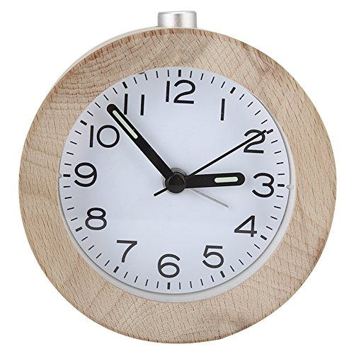Eboxer Reloj de Despertador Silencioso Redondo de Madera de Haya con LED Luz Nocturna, Reloj Despertador...
