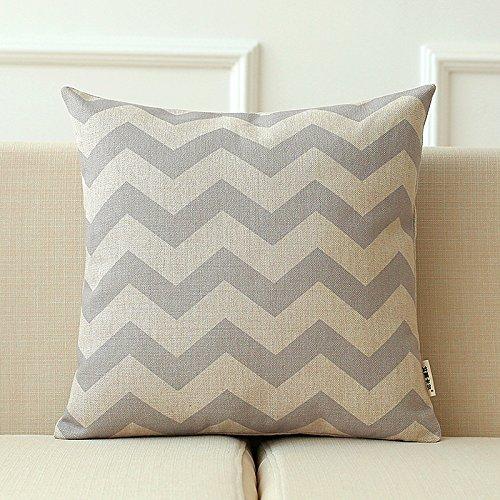 zzyhome-the nórdico moderno lino y algodón creativa sofá cojín manta almohada decoración del hogar oficina y coche decorativa cojín, 45x 45cm campana + PP algodón almohada Chipset, muaré gris claro