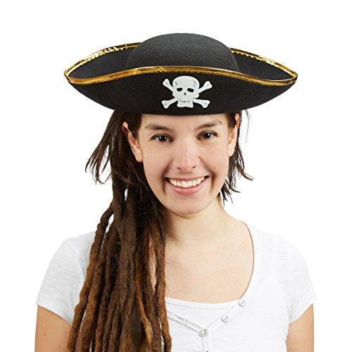 Piratenhut schwarz im Set, Dreispitz, mit Totenkopf, Kopfbedeckung für Fasching oder Karneval, Einheitsgröße, black (1er Set)