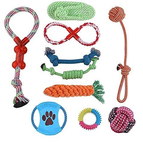 BlackRomance 10 PCS Hund Pet Toys Set, Upgrade Hund kauen Spielen Spielzeug, Hund Zähne Aids Toys Baumwolle Kugel Seil Gericht TPR Loop und mehr, für mittlere bis kleine Hund