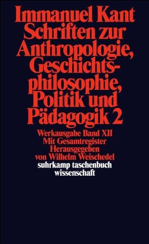 Suhrkamp Taschenbuch Wissenschaft Nr. 193: Schriften zur Anthropologie, Geschichtsphilosophie, Politik und Pädagogik 2/Register zur Werkausgabe