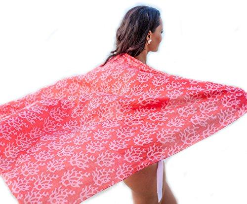 West Indies Wear 100% Reine Baumwolle Damen Sarong Badeanzug Strandkleidung Überwurf - Viele Farben und Designs One Size rote Koralle (Die Korallen Insel)