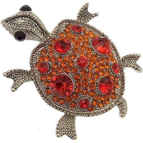 Acosta-Red & arancione in stile Vintage, a forma di spilla a forma di tartaruga, con cristalli, color argento, in confezione regalo