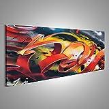 islandburner Bild Bilder auf Leinwand Straßenkunst-Graffitispray gemalt auf einer Betonmauer Verschiedene Formate ! Direkt vom Hersteller ! Bilder ! Wandbild Poster Leinwandbilder ! HRG-Pano