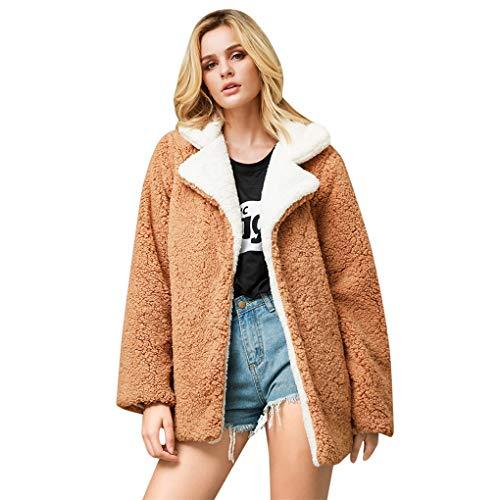 Dorical Damen Mantel Plüsch Winterparka Casual Teddyfleecejacke Winterjacke Revers Faux Wolle Warm Outwear Plüsch Jacke Coat Umlegekragen mit Zwei Taschen Gr S-XXXL(Z03-Khaki,XX-Large)