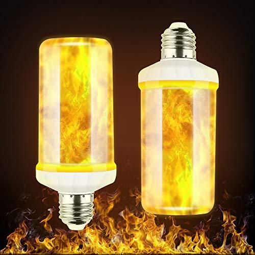 Flamme Glühbirne, Flamme Licht LED Lampe Flamme, 2 Stücke Flackerlicht E27 mit 3 Modi Feuer Effect Birne für Halloween, Weihnachten, Haus, Restaurants, Bar Party und Festdekorationen