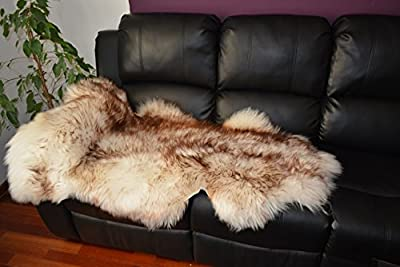 Brown white Sheepskin Rug Soft Wool amazing - inexpensive UK light shop.