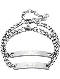 JOVIVI Bracelet Couple Amoureux Gravure Personnalisée Acier Inoxydable Poli ID Gourmette Lien Poignet Curb Chaîne de Main Argent Cadeau Pour Saint-Valentin