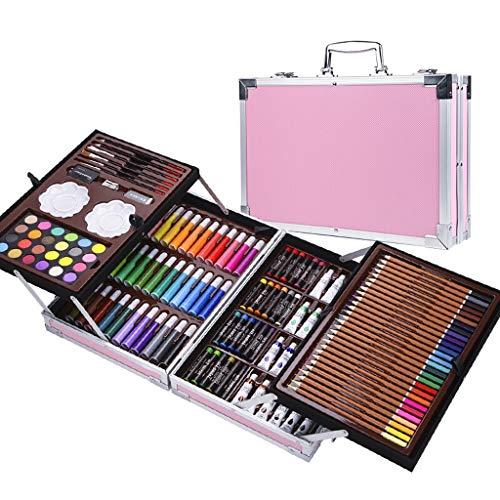 Set di strumenti da disegno per bambini 145 pezzi di scatola di alluminio pennello doppio set regalo di pittura pastello pastelli a olio set penna acquerello (colore : pink)