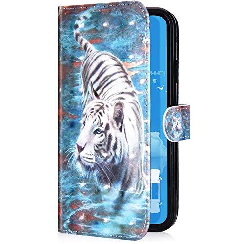 Uposao Kompatibel mit Samsung Galaxy A20 Handyhülle Glänzend 3D Bunt Bling Glitzer Muster Leder Tasche Schutzhülle Brieftasche Handytasche Lederhülle Klapphülle Case Flip Cover,Weiß Tiger