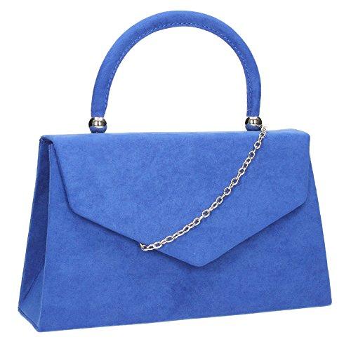 Swankyswans Damen-Clutch Kendall, Veloursleder/Samt, Briefumschlag-Design, ideal für Partys, Hochzeiten, feine Anlässe - Königsblau -