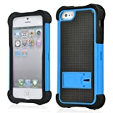 SOOPER Blue with Kick Stand Defender Heavy Duty Protective Hard Full Body Cover Case For Apple iPhone 5 5G + Free Screen Protector (Black)