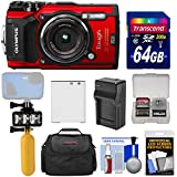 Olympus Tough TG-5 4K Wi-Fi GPS Shock & Waterproof Digital Camera (Red) + 64GB Card + Battery & Charger + Diving LED Video Light + Buoy + Case Kit