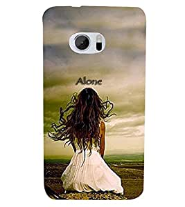 PrintVisa Quotes & Messages Alone 3D Hard Polycarbonate Designer Back Case Cover for HTC One M10