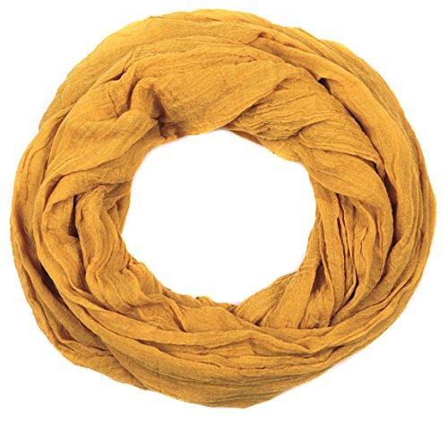 INTERMODA Uni Loop Schlauchschal Crash and Crinkle I Loop Schal mit Crinkle Effekt I Einfarbig I Unisex I Crinkle Hals Tuch Curry Senfgelb